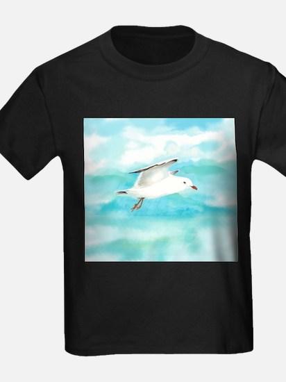 Watercolor Seagull Bird in Rain at Lake T-Shirt