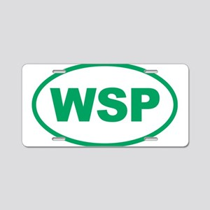 WSP Green Euro Oval Aluminum License Plate