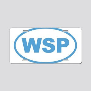 WSP Blue Euro Oval Aluminum License Plate