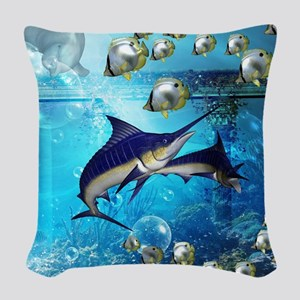 Awesome underwater world Woven Throw Pillow