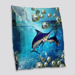 Awesome underwater world Burlap Throw Pillow