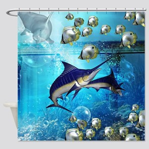 Awesome underwater world Shower Curtain