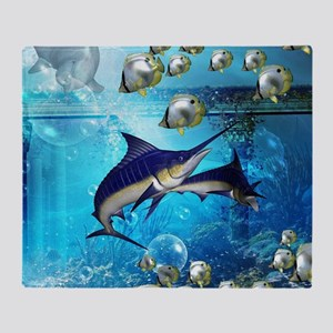 Awesome underwater world Throw Blanket