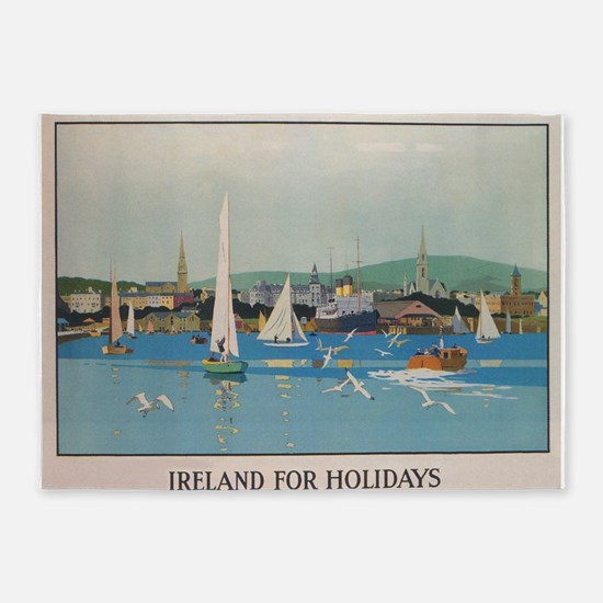 Ireland for the Holidays, Sailboats 5'x7'Area Rug