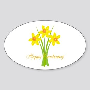 Watercolor Daffodils Gardener Sticker (Oval)