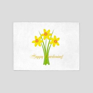 Watercolor Daffodils Gardener 5'x7'Area Rug