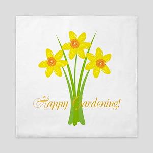 Watercolor Daffodils Gardener Queen Duvet