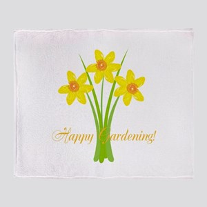 Watercolor Daffodils Gardener Throw Blanket