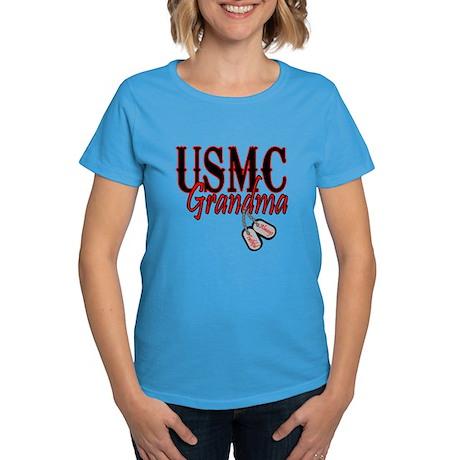 USMC Dog Tag Grandma Women's Dark T-Shirt