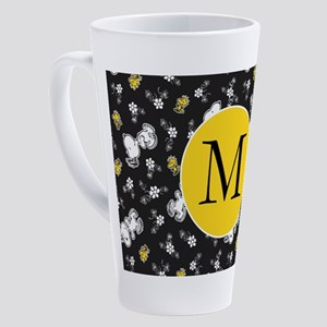 Snoopy Black and Yellow Monogram 17 oz Latte Mug
