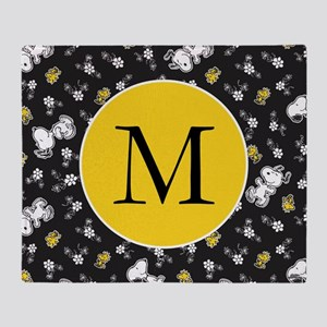Snoopy Black and Yellow Monogram Throw Blanket