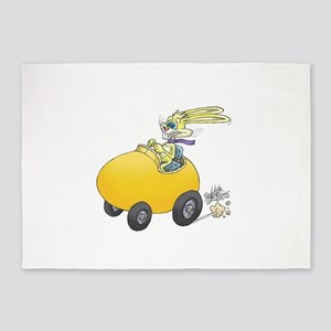 Easter Bunny driving an Easter egg. 5'x7'Area Rug