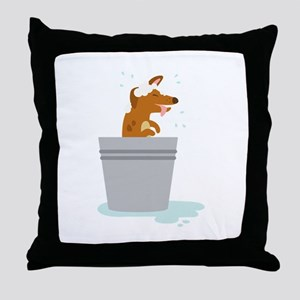 Dog Bath Throw Pillow