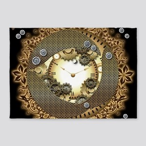 Steampunk in gold colors 5'x7'Area Rug