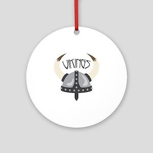 Vikings Helmet Round Ornament