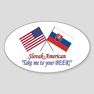 Slovak/American 1 Oval Sticker