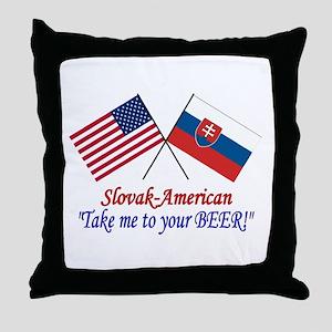 Slovak/American 1 Throw Pillow