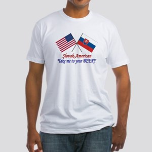 Slovak/American 1 Fitted T-Shirt