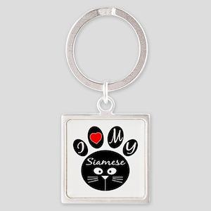 I love my Siamese Square Keychain