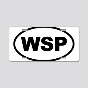 WSP Black Euro Oval Aluminum License Plate