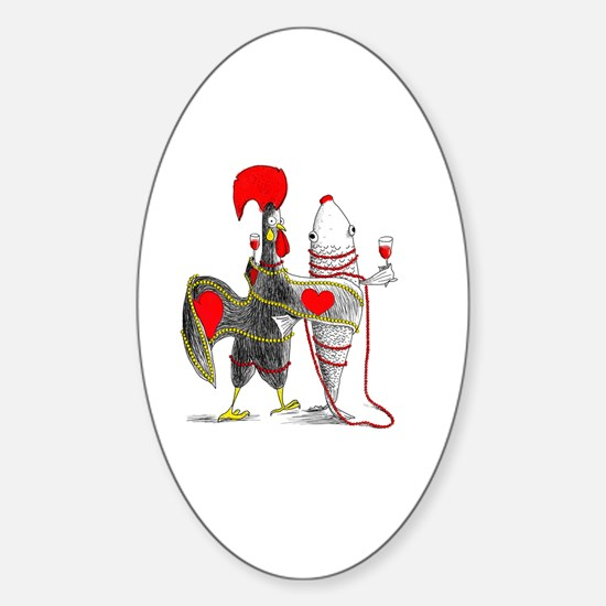 Unique Red rooster Sticker (Oval)
