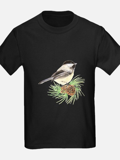 Chickadee Bird on Pine Branch T-Shirt
