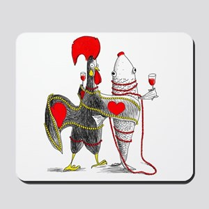 Barselos rooster and sardine Mousepad