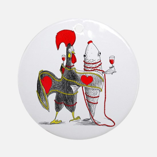 Barselos rooster and sardine Round Ornament