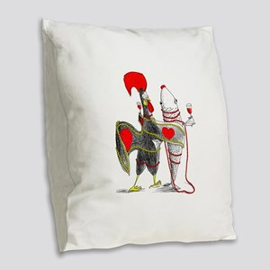 Barselos rooster and sardine Burlap Throw Pillow
