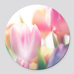 Beautiful Tulips Round Car Magnet