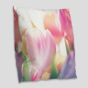 Beautiful Tulips Burlap Throw Pillow
