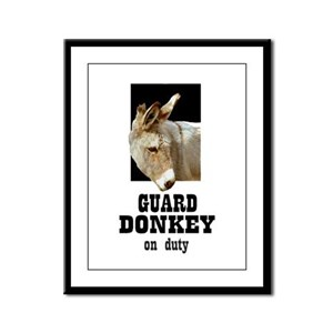 GUARD DONKEY Framed Panel Print