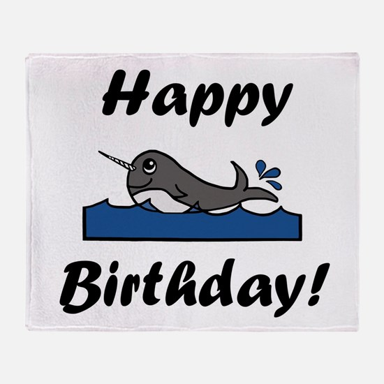 Birthday Narwhal Throw Blanket