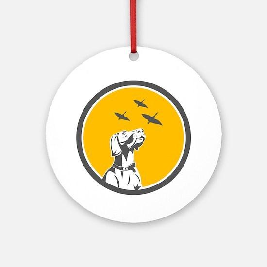 English Pointer Dog Looking at Geese Circle Retro