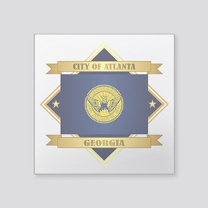 "Atlanta Flag Square Sticker 3"" x 3"""