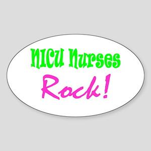 NICU Nurses Rock! Oval Sticker