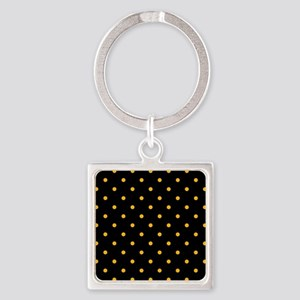 Polka Dots: Gold on Black Square Keychain
