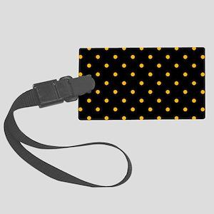 Polka Dots: Gold on Black Large Luggage Tag