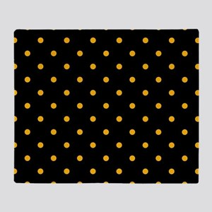 Polka Dots: Gold on Black Throw Blanket