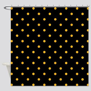 Polka Dots: Gold on Black Shower Curtain