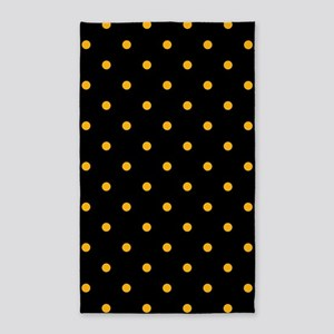 Polka Dots: Gold on Black Area Rug