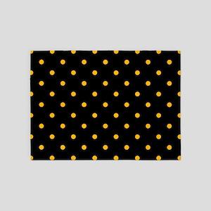 Polka Dots: Gold on Black 5'x7'Area Rug