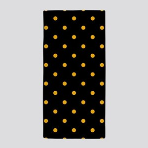 Polka Dots: Gold on Black Beach Towel