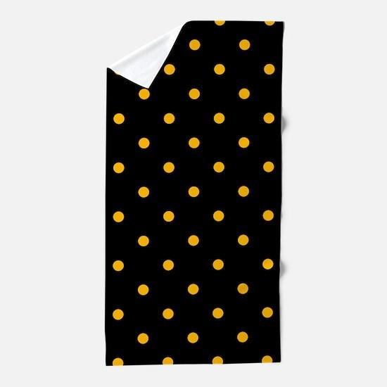 Polka Dots: Gold on Black Beach Towel