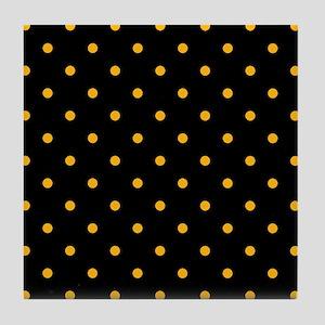 Polka Dots: Gold on Black Tile Coaster