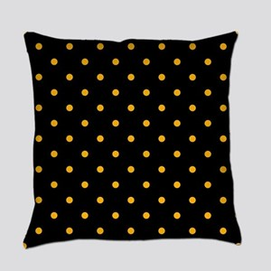 Polka Dots: Gold on Black Everyday Pillow