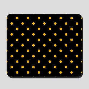 Polka Dots: Gold on Black Mousepad