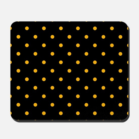 Polka Dots: Gold on Black Mousepad