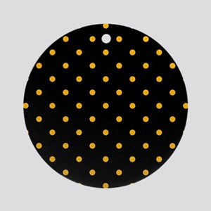 Polka Dots: Gold on Black Round Ornament