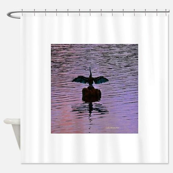 Shorebird Sunning At Sunset On Lake Shower Curtain